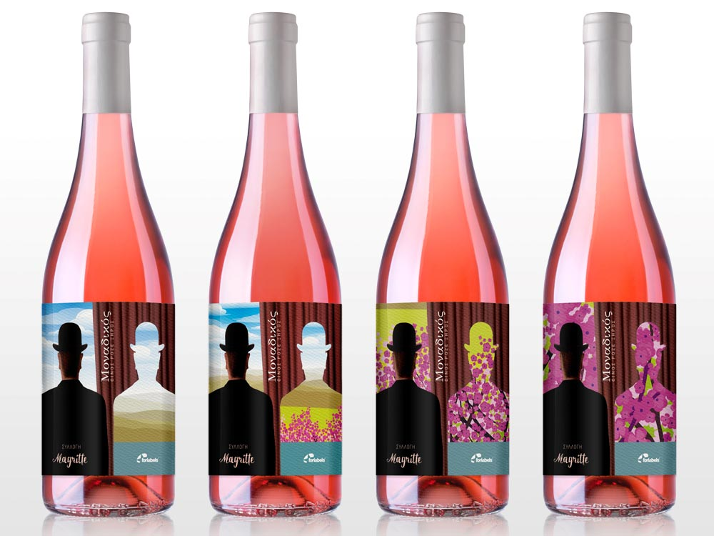 Αυτοκόλλητη ετικέτα φιάλης κρασιού - MOSAIC MAGRITTE